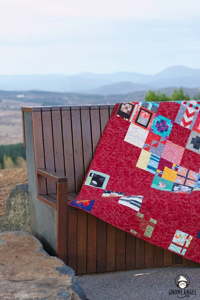#100Days100Blocks - Angie Wilson's completed Tula Pink City Sampler made as part of the #100Days100Blocks sew-along in 2016. Made with all Lizzy House fabrics. See more www.GnomeAngel.com